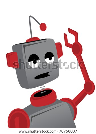 Expressing a sad bored lonely face a robot with a bent antenna waves his arm, editable vector illustration