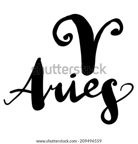 "Expression handmade brush lettering with zodiac sign ""Aries"" - stock vector"