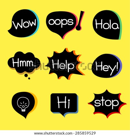 EXPRESSION ICON different style speech bubble graphics with popular expression words. - stock vector