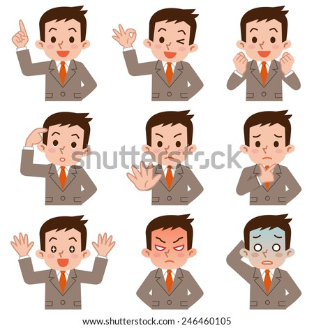 Expression set of young businessman - stock vector