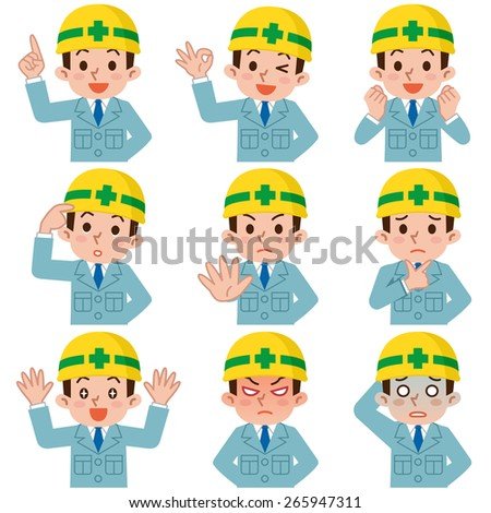 Expression set of young men who suffered a helmet - stock vector
