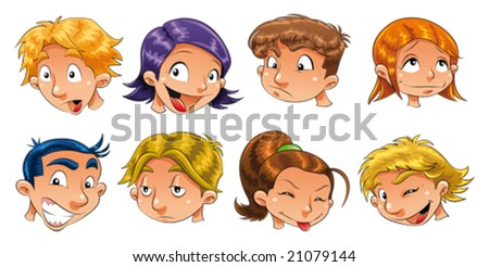Expressions of children - stock vector
