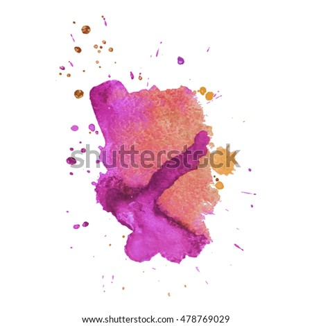 Expressive abstract watercolor stain with splashes and drops of pink orange color. Watercolor background