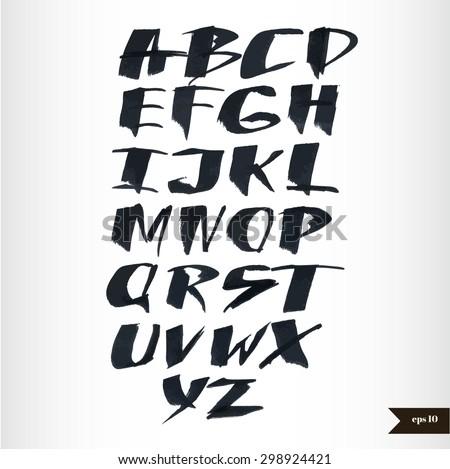 Expressive calligraphic script.Vector hand drawn alphabet.Hand drawn letters.Alphabet Font.Handwritten calligraphic black watercolor alphabet - stock vector