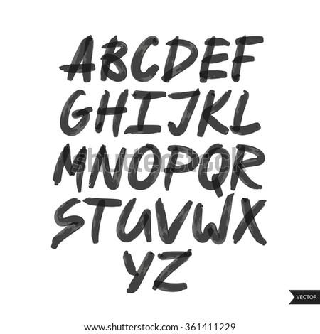 Expressive calligraphic script.Vector hand drawn alphabet.Hand drawn letters.Alphabet Font.Handwritten calligraphic black alphabet - stock vector