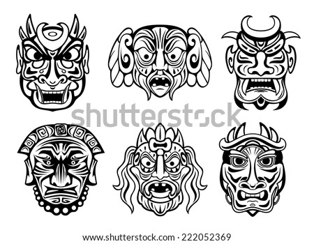 Expressive religious masks in tribal style isolated on white. For religion,tattoo and historical design  - stock vector