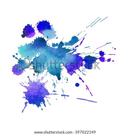 Expressive watercolor splash background,colorful paint drops texture - stock vector