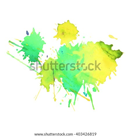 expressive watercolor spot blotch with splashes green yellow emerald color. Banner for text, grunge element for decoration