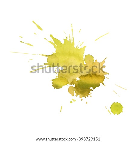 expressive watercolor spot blotch with splashes yellow lemon  color. Banner for text, grunge element for decoration