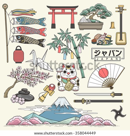 exquisite Japan travel elements collection in line style - Japan country name in Japanese words - stock vector
