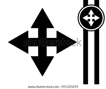 extend re-size cursor - black and white vector icon - stock vector