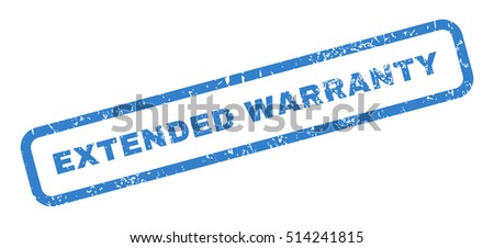 Extended Warranty text rubber seal stamp watermark. Caption inside rectangular shape with grunge design and unclean texture. Slanted vector cobalt ink sign on a white background.