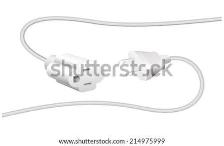 Extension cable and plug with two flat pins, to connect electrical equipment. Isolated vector illustration on white background. - stock vector