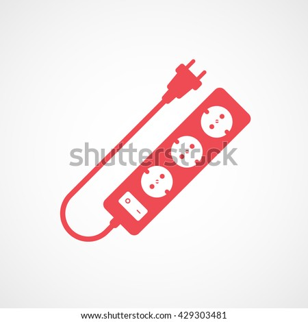 Extension Cord Red Icon On White Background - stock vector