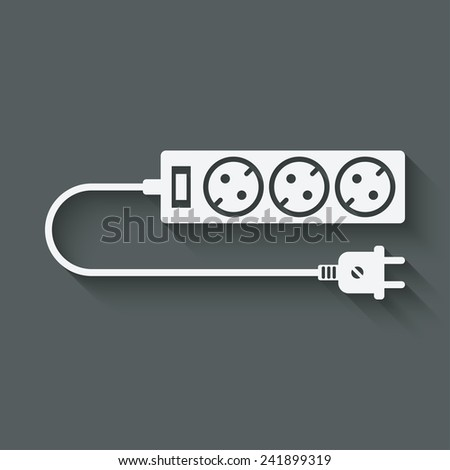 extension cord symbol - vector illustration. eps 10 - stock vector