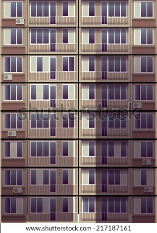 Exterior wall  with  windows. Apartment building tall house. Vector illustration.