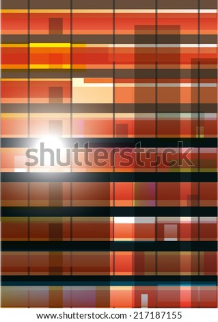Exterior wall  with  windows. Office building at sunset. Vector illustration. - stock vector