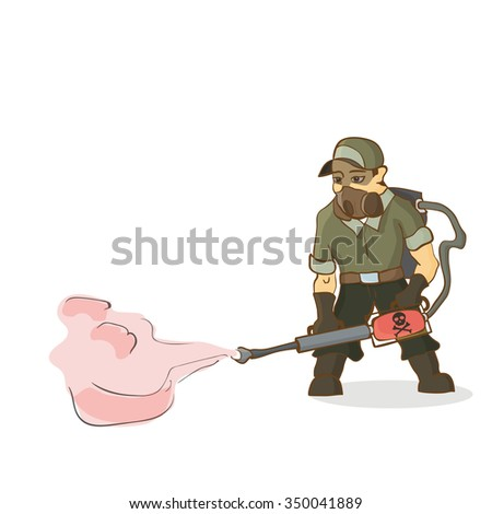Exterminator on white background, vector illustration - stock vector