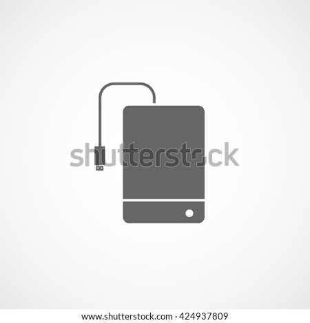 External Hard Disc Drive Flat Icon On White Background - stock vector