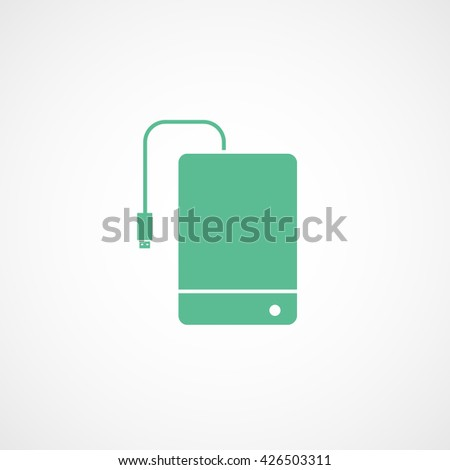 External Hard Disc Drive Green Flat Icon On White Background - stock vector