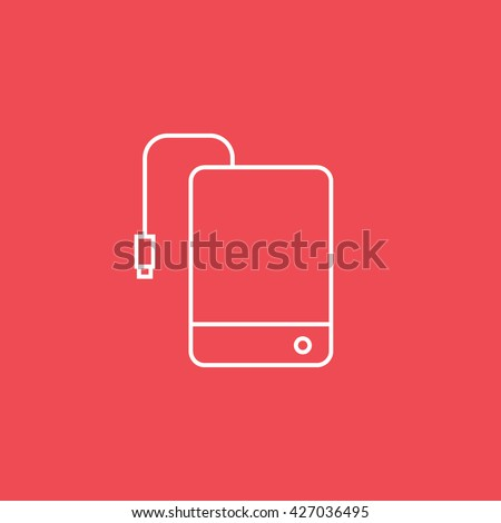 External Hard Disc Drive Icon On Red Background - stock vector