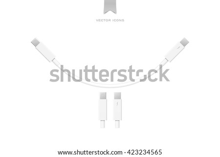 external peripherals interface cable isolated on white background. vector PCI Express and Display Port icons design. computer peripheral or monitor high speed connector supply. vector thunderbolt sign - stock vector