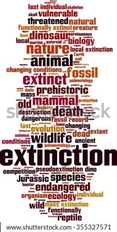 Extinction word cloud concept. Vector illustration
