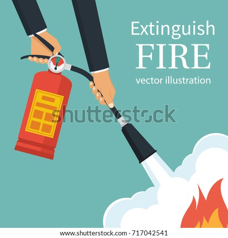 Extinguish fire. Fireman hold in hand fire extinguisher. Vector illustration flat design. Isolated on background. Protection from flame. Show training instructions. Foam from nozzle.