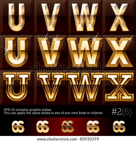 Extra beveled gold font plus graphic styles. Set #2. File contains graphic styles available in the Illustrator 10 + You can apply the styles to any of you own fonts or objects - stock vector