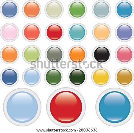 extra big glossy circle button set v.2 (impressionism edition) - stock vector