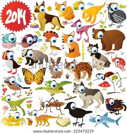 extra big vector cartoon animals set  - stock vector