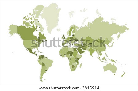 Extra detailed map of the world - stock vector