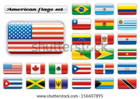 Extra glossy button flags. Big American set. 24 Vector flags. Original size of USA flag included.  - stock vector