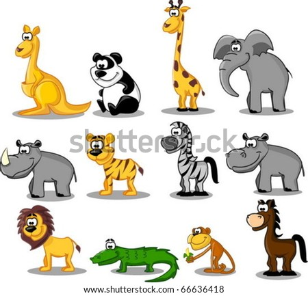 extra large set animals - stock vector