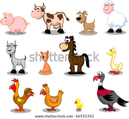 Extra large set animals including cows, turkeys, sheep, horse, goose, duck, dog, cat, chicken, goat, pig, rooster, chicken - stock vector