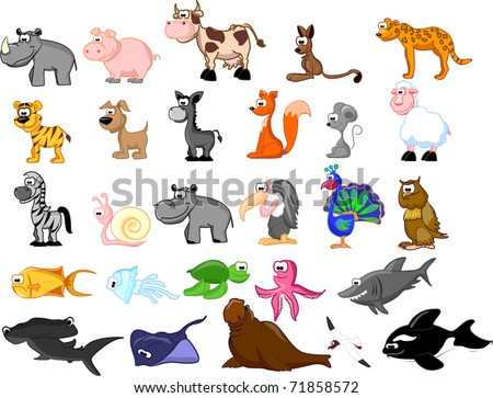 extra large set animals including kangaroos, ostrich, squirrel, coyote, - stock vector