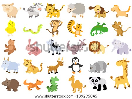 Extra large set of animals.  EPS8 File - simple Gradients, no Effects, no mesh, no Transparencies.All in separate group for easy editing. - stock vector