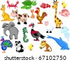 Extra large set of animals including elephants, giraffes, peacocks, a panda, a sea horse, jellyfish, rooster, chicken, kangaroo, dolphin, fish, turkey, cow, turtle, cat, crab, lamb - stock vector