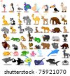 Extra large set of animals including lion, kangaroo, giraffe, elephant, camel, antelope, hippo, tiger, zebra, rhinoceros - stock vector