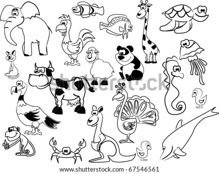 Extra large set of  black  white animals including elephants, giraffes, peacocks,  panda,  sea horse, jellyfish, rooster, chicken, kangaroo, dolphin, fish, turkey, cow, turtle, cat, crab, lamb