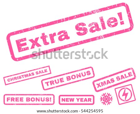 Extra Sale! rubber seal stamp watermark with additional banners for Christmas and New Year sales. Text inside rectangular banner with grunge design and unclean texture. Vector pink signs.