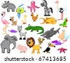 extra set  animals  rhinoceros, fish, octopus, zebra, ostrich, flamingo, dog, duck, , chicken, parrot, alligator, goat, shark, pelican, elephant, pig, lion, toucan, sparrow, starfish - stock vector