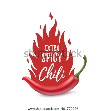 Extra spicy chili paper poster, badge or banner template with fire, isolated on white background. Vector illustration. - stock vector