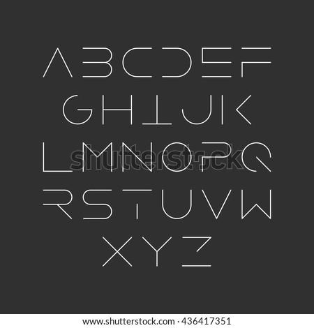 Thin Font Futuristic Font Cosmic Font Stock Vector