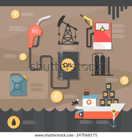 extraction of oil. flat illustration - stock vector