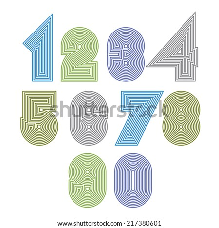 Extraordinary round striped numbers. Vector creative light digits isolated on white background. - stock vector