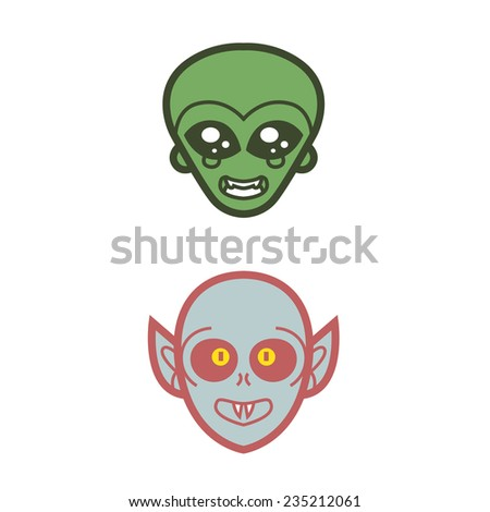 extraterrestrial alien and vampire undead scare smile - vector for Halloween mask, cards and invitations - stock vector
