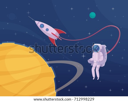 Extravehicular activity cartoon poster with astronaut  spacewalking in spacesuit and big yellow planet on foreground vector illustration