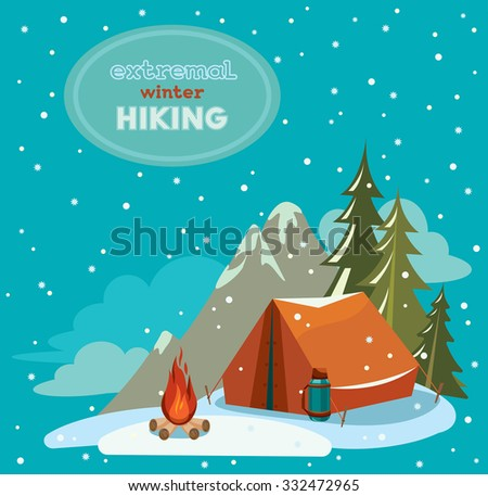 Extremal winter hiking - red tent and fire on a snowy sky. Vector adventure illustration. - stock vector