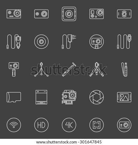 Extreme action camera icon set - vector symbols of camera, monopod and other accessories